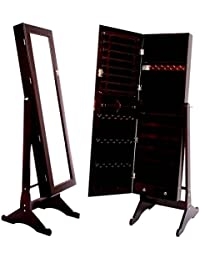 Great Brown Mirrored Jewelry Cabinet Armoire Stand, Mirror, Necklaces, Bracelets,  Rings