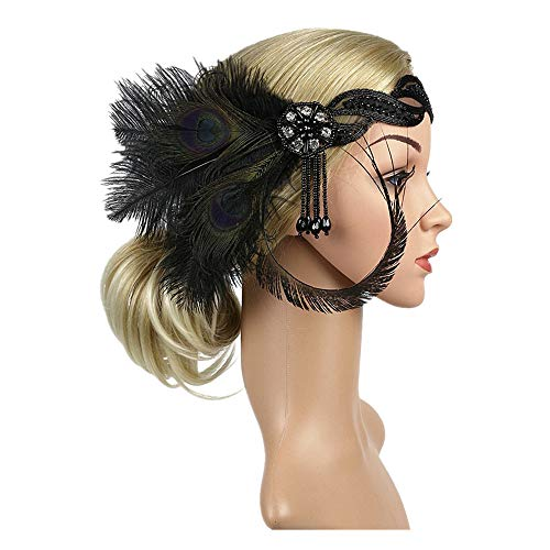 1920s Headpiece Feather Flapper Headband Great Gatsby Headdress Vintage Accessory (Black -5)]()
