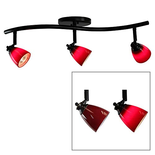 Price comparison product image Direct-Lighting 3 Lights Adjustable Track Lighting Kit - Dark Bronze Finish - Red Glass Track Heads - GU10 Bulbs Included. D268-23C-DB-BRED