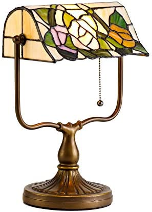 Banker s Tiffany Table Lamp Floral Style Beige Lampshade, 14 inch UL Listed Handmade Vintage Stained Glass Desk Lamp with Aluminum Base for Living Room Bedroom Decoration, Bulb Included