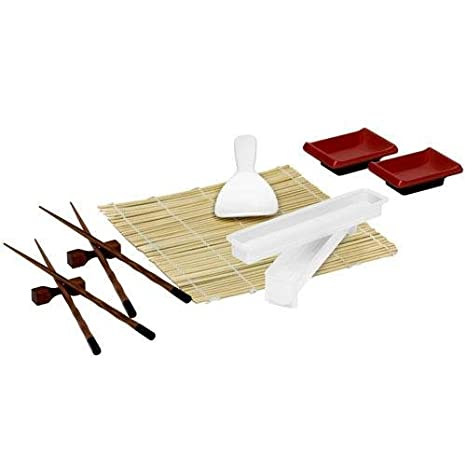 Sushi Making Kit and Bamboo Cooking Set - Bamboo Steamer - Stir Fry Set - Serving Platters - Soy Sauce Dispenser - Soy Dipping Bowls: Kitchen & Dining