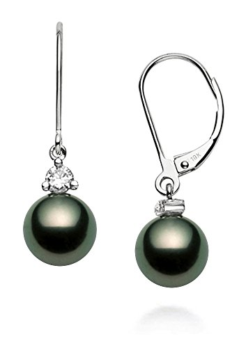 18k White Gold AAA Quality Black Tahitian Cultured Pearl Diamond Leverback Dangle Earrings (8-9mm)