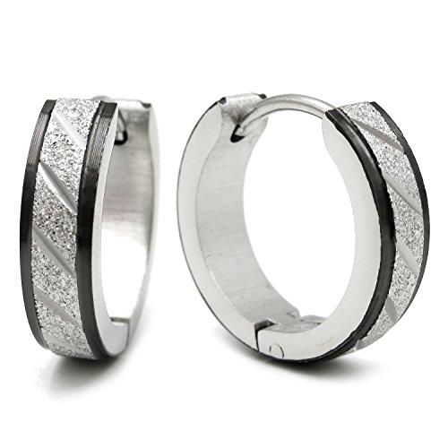 Stainless Steel Mens Hoop Earrings Stripe Black Bevel Edge 16mm