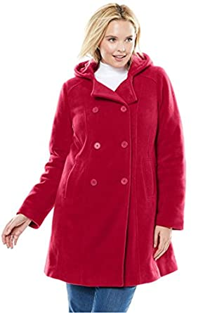 Woman Within Women's Plus Size Hooded Fleece Pea Coat at Amazon ...