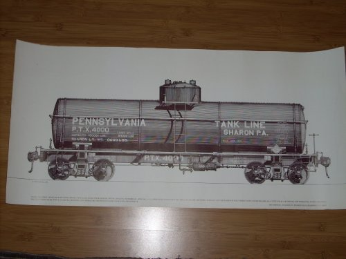 Vintage 1975 Line Drawing Poster - Steel Tank Car, Type A-1-D Class TM-111 (for oil) with capacity of 100k lbs (8390 gal) - Builder and Operator Pennslyvania PA Tank and Car Company 1920. 31.5