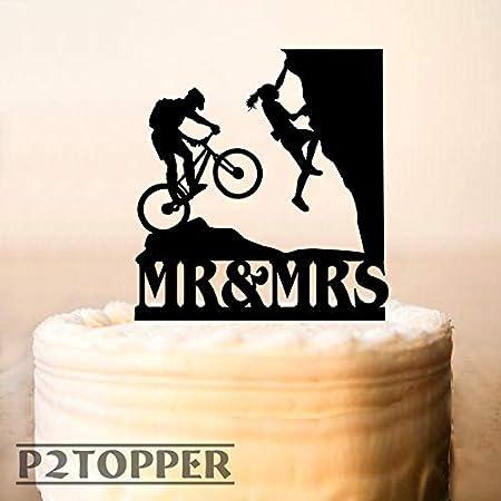 Decoración para tartas de montaña, decoración personalizada para tartas, decoración para tarta de boda, decoración de ducha, decoración para tartas, escalador de rocas, bicicleta de montaña: Amazon.es: Hogar