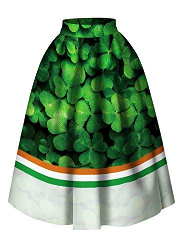 Women High Waist Clover Pattern Pleated A line Flared Skater Midi Skirt Dress -