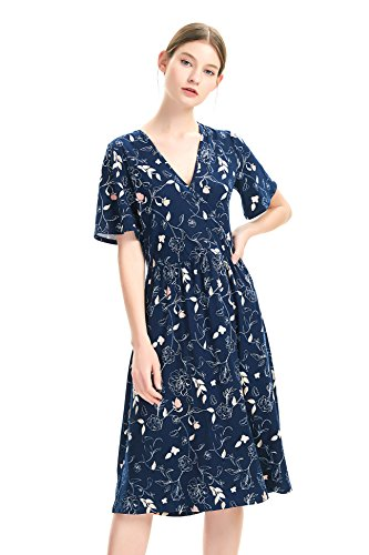 zhAjh Women's Brushed Jersey V Neck Flutter Sleeve Mid Calf Floral Print Dress with Faux Wrap Front (Lined Flower, X-Large) ()