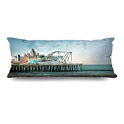 - DIYCow Body Pillows Covers Illustratisurance Seaside Heights Nj Amusement Shore Parks Outdoor Jersey Vintage Sand Cushion Case Pillowcase Home Sofa Couch Rectangular Size 20 x 60 Inches Pillowslips