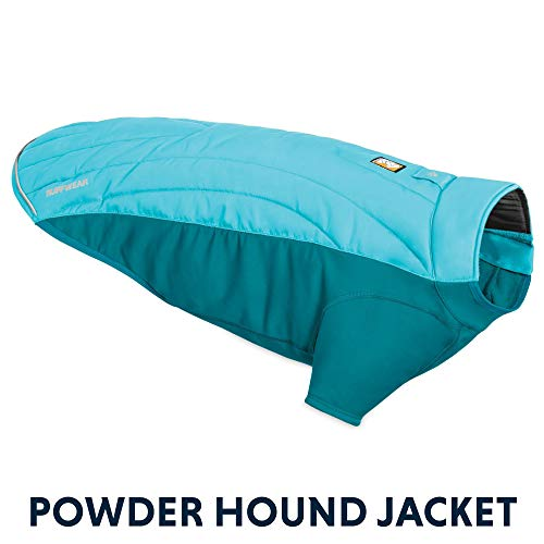 RUFFWEAR - Powder Hound Insulated, Water Resistant Jacket for Dogs for Cold Weather, Blue Atoll, Small
