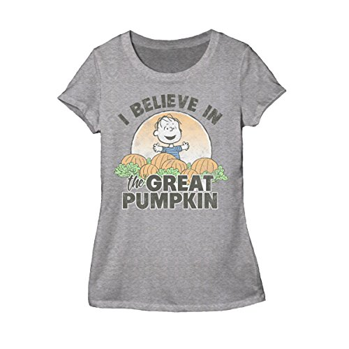 Peanuts Halloween I Believe in The Great Pumpkin Juniors Heather Grey T-Shirt ()