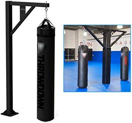 ボクシングバッグ柱吊り下げタイプボクシングサンドバッグフィットネスパンチングバッグ土嚢スタンドを戦う特殊な多機能武道の訓練 (Color : Black, Size : 107*30*244CM)