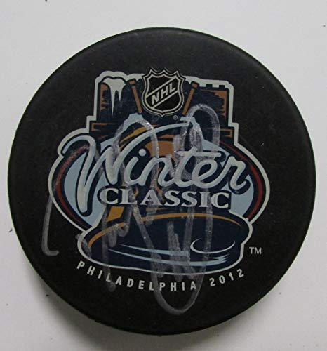 Danny Briere Flyers Autographed/Signed Winter Classic 2012 Logo Puck JSA 144358