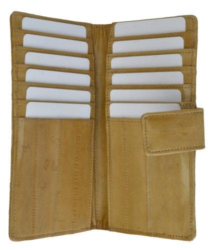 Eel Snap Skin - 100% EEL Skin Credit Card Wallet Tan #E533