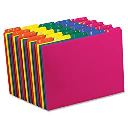 Pendaflex Poly File Guides, A-Z , 1/5 Cut Top Tabs, Letter, Assorted Colors, Alphabetic(A-Z),(40142)