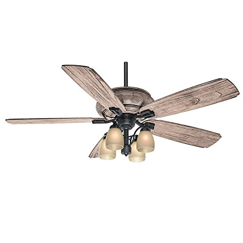 Casablanca 55052 Heathridge 60-Inch Tahoe Ceiling Fan with River Timber Non-Reversible Blades and Four Light Kit ()