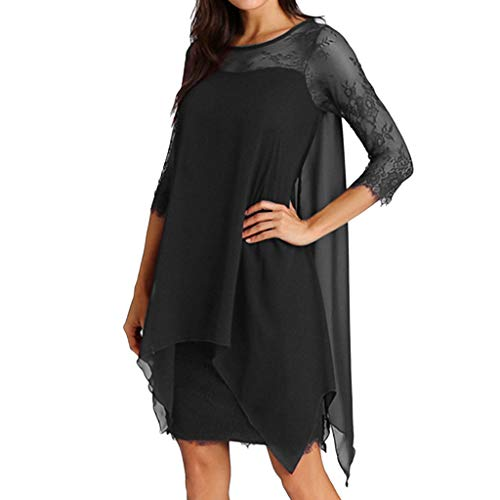 Women Chiffon Dress Three Quarter Sleeve Lace Dress Oversize - Stackable Ring Three Quarter