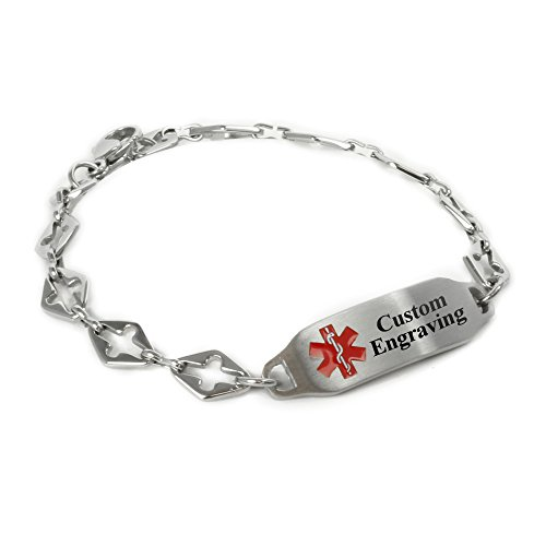 MyIDDr Ladies Medical Alert Bracelet with Engraving - 316L 6mm Steel Cross - Red by My Identity Doctor