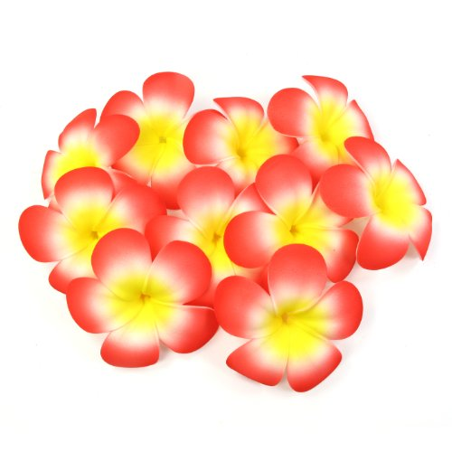 Plumeria Flower Bowl (Floating Plumeria (Frangipani) Foam Flower, 10-Pack, Approx. 3