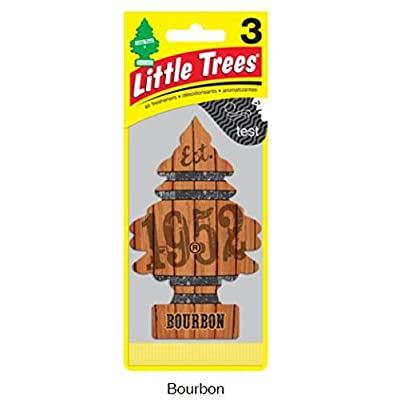 LITTLE TREES Car Air Freshener | Hanging Paper Tree for Home or Car | Bourbon | 3 Pack: Automotive