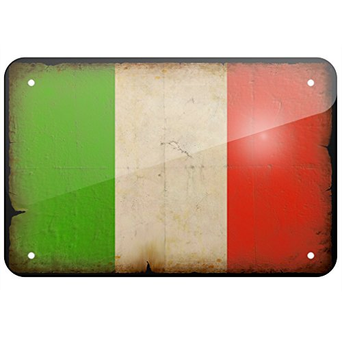 Metal Sign Italian Flag with a vintage look, Large 12x18