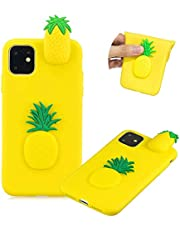 Soft TPU Case for iPhone 11Pro,Moiky Funny Cute 3D Cartoon Pineapple Design Ultra Thin Silicone Shockproof Back Phone Case Unique Style Protective Cover