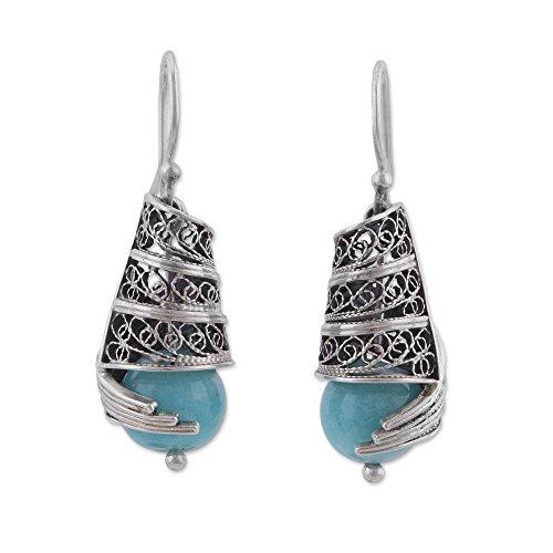 Set Eternal Jewelry Swirls - NOVICA Amazonite .925 Sterling Silver Dangle Earrings 'Eternal Swirls'