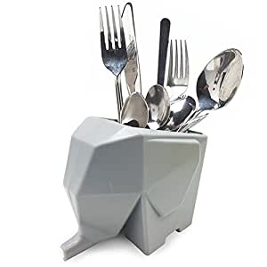 Lovely Elephant Kitchenware Cutlery Drainer Rack Creative Toothbrush Holder Grey