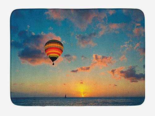 Sunset Bath Mat, Hot Air Balloon on Skyline with Horizon at Sea Background Relax Adventure Scenery, Plush Bathroom Decor Mat with Non Slip Backing, 23.6 W X 15.7 W Inches, Blue Yellow
