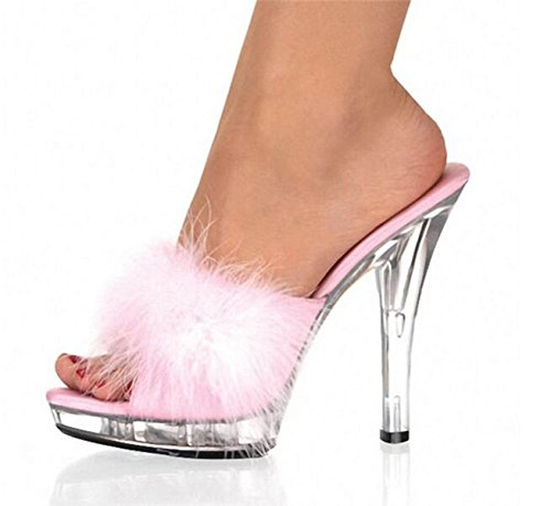 JSHOE 13 Cm Sexy Maomao Shoes / Women'S Shoes Patent Leather / Peep Toe / Slippers Heels / Slippers / Party / Evening,Pink-39