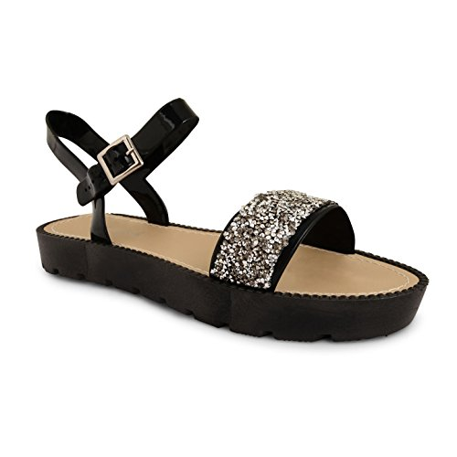 Tilly Shoes Flatform Plataforma Diamante Correa De Tobillo Cleated Sandalias Zapatos Talla - 839-Pewter