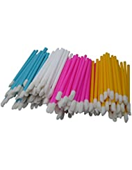 200 PCS Disposable Lip Brushes Lipstick Gloss Wands Applicator Makeup Tool Kits (White,Blue,Pink,Yellow)