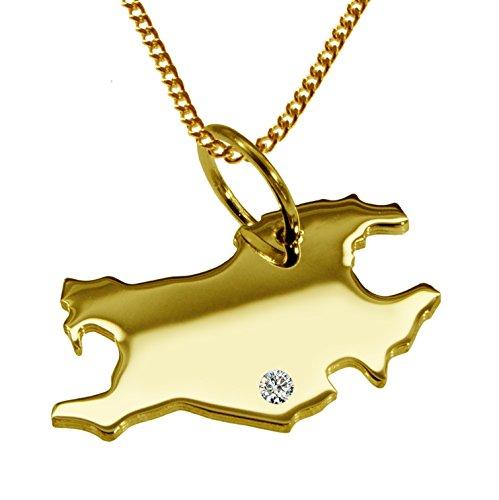 Endroit Exclusif Francfort Carte Pendentif avec brillant à votre Désir (Position au choix.)-avec Chaîne-massif Or jaune de 585or, artisanat Allemande-585de bijoux