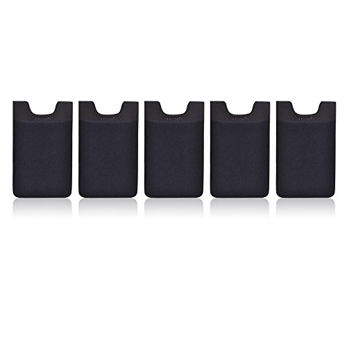 Cosmos® Pack of 5 Black Color of Adhesive Sim/id/credit Card Pocket Pouch Sleeve Holder for Iphone/galaxy S/android/blackberry/windows Smartphones (Case 5 Blackberry)