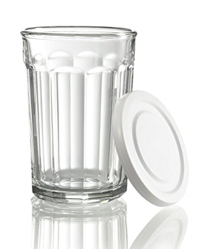 (Luminarc Arc International Working Glass Storage Jar/Cooler with White Lid (Set of 4), 21 oz, Clear )