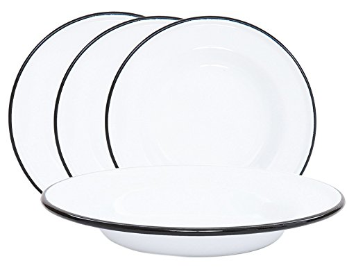 Crow Canyon Enamelware Round Dinner/Salad/Serving Plates, Classic Tableware - Set of 4 - Solid White with Black Rim Color, 8 Inches (Set Dinnerware Enamelware)