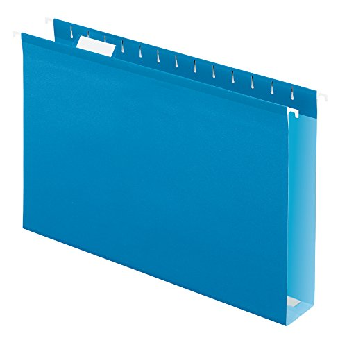 Pendaflex 04153X2 BLU Extra Capacity Reinforced Hanging Folders, 2, Legal Size, Blue, 1/5 Cut, 25/BX (4153x2 BLU)
