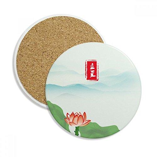 Summer Begins Twenty Four Solar Term Ceramic Coaster Cup Mug Holder Absorbent Stone for Drinks 2pcs Gift by DIYthinker