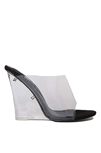 4ed2dcd4633 CAPE ROBBIN Women s Transparent Lucite Clear Wedge Heel PVC Open Toe Slip  On Mules Lemonade (