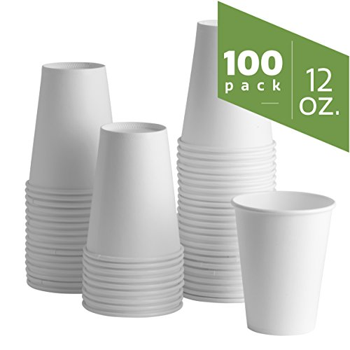 12 oz. White Paper Hot Cups [100 Pack]