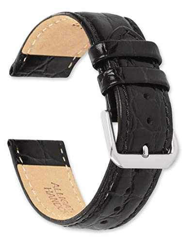 deBeer - 20mm Alligator Grain Watch Strap - Black - Replacement Leather Watch Band