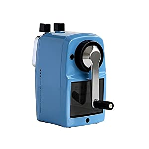 InnoDesktop Heavy Duty Jumbo Size Manual Rotary Pencil Sharpener, Steel Shell, Best Pencil Sharpener, Great for Kids, Classroom and Office (Blue)