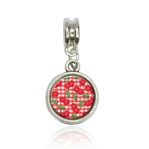 Cherries Pattern Red Checkered Euro European Italian Style Bracelet Bead Charm