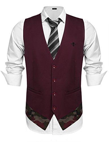 COOFANDY Men's Suit Vest Slim Fit Skinny Wedding Dress Waistcoat for Wedding, Date, Dinner
