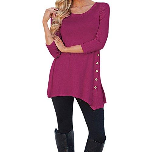 Wear Caftan (Womens Plus Size Scoop Neck Loose Button Trim Blouse Solid Color Round Neck Tunic T-Shirt (US6(TagXL), W-Hot Pink))