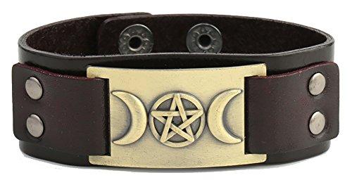 Lemegeton Punk Triple Moon Goddness Pentacle Amulet Metal Connector Cuff Leather Bracelet Jewelry