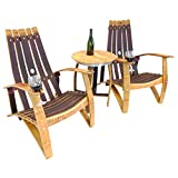 Central Coast Creations Adirondack Chair Set - Wine Barrel Handcrafted Wine Barrel Furniture