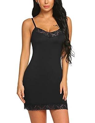 Avidlove Women Lace Lingerie Chemise Mini Full Slip Modal Sleepwear Nightgown
