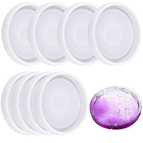 8 Pack Silicone Round Coaster Molds - Buytra Silicone Resin Mold, Clear Epoxy Molds for Casting with Resin, Concrete, Cement and Polymer Clay