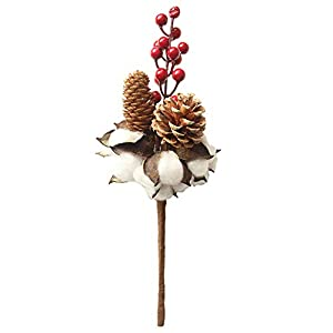 dna18729nd Artificial Flowers, 1Pc Cotton Berry Pine Cone Garden Stage Party Home Decor 6